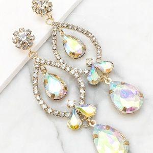 AB Aurora Borealis Crystal Chandelier Earrings